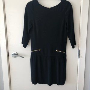 Ever New Black Dropped Waist Dress w Long Sleeves